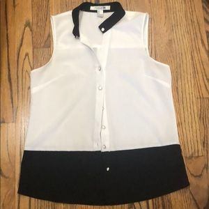 Black and white colorblock blouse